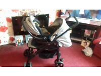 3D Travel System, Pram/Pushchair & Car Seat. Not been used much. Grey, Raincover included.