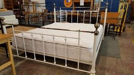 White metal super king size frame with sealy orthopaedic mattress