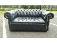 Chesterfield black leather 2 seater sofa. EXCELLENT CONDITION! BARGAIN.