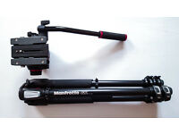 TRIPOD - Manfrotto 055 Aluminium 3 / Pro Video Head MVH502AH (+ Unpadded Tripod Bag)