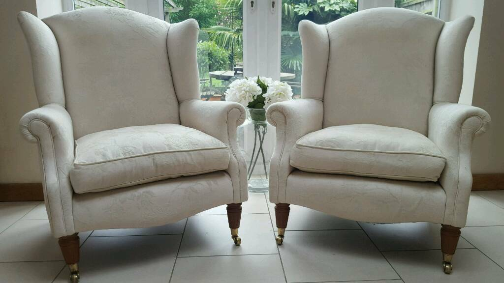 Pair of laura ashley southwold wingback ashino natural armchairs castor feet bickley kent in - Laura ashley office chair ...