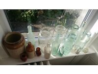 Assortment of old bottles and jars