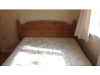 Double Bed & Mattress with Underbed Storage & Pine Headboard