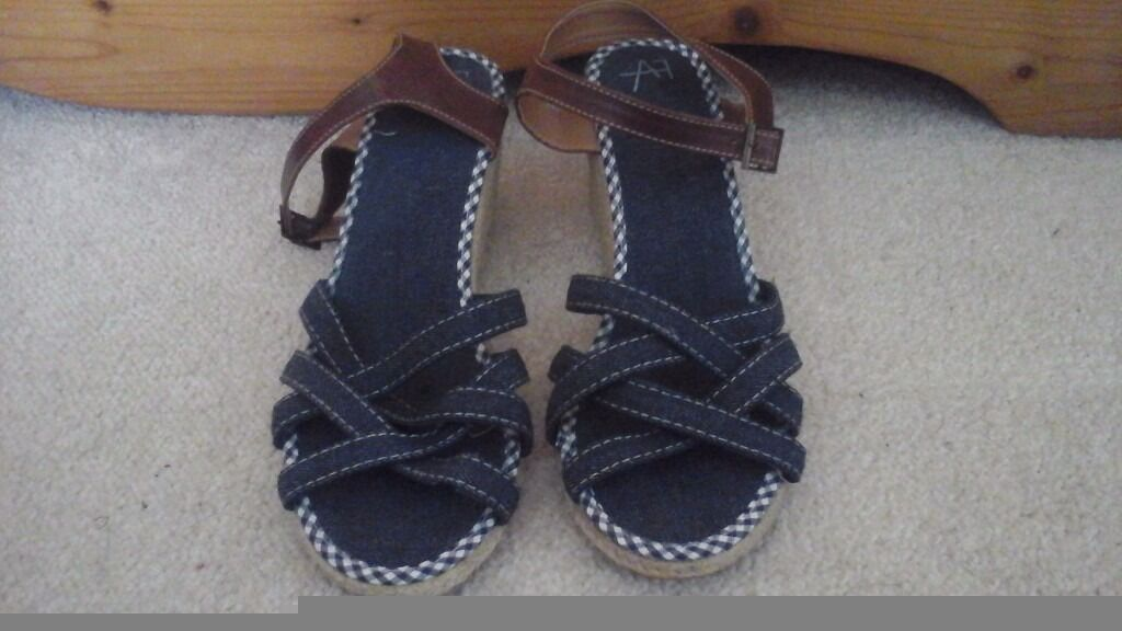 Ladies Sandal Wedges, Size 8in Norwich, NorfolkGumtree - Lovely Sandal Wedges, Blue Denim with leather strap around heel. Soft and comfortable to wear. Good condition. Only Worn Once. Womens size 8