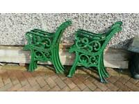 Vintage cast iron garden bench seat ends
