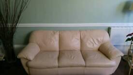 Cream leather 3+2 sofas