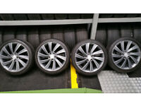 Audi VW Skoda Genuine Anthracite Pegasus 18'' Alloy Wheels + 4 x tyres 225 40 18 Bridgestone