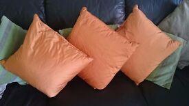 Crushed silk John Lewis cushions, burnt orange colour