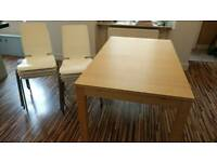 Dining table and 8 stackable chairs