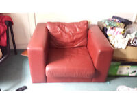 Large Red Leather Armchair £50, must go before 21st July!