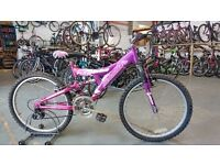 OLDER GIRLS MAGNA ALOHA BIKE 24 INCH WHEELS FULL SUSPENSION 15 SPEED PURPLE/PINK GOOD CONDITION