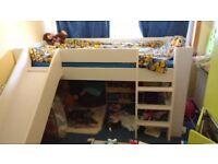 Mid-Sleeper Kids Single Bed & Slide