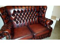Chesterfield two seater sofa, Oxblood, Wingback style