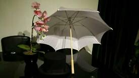 Quality Wedding Event Ascot Felt Hat Hand Made 100% Wool Top and wedding umbrella