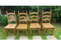 4 Corona Dining Chairs 4 Mexican Solid Pine 3 Slat chair