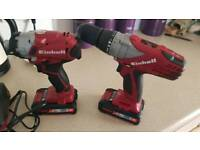 Einhell impact and drill and batteries