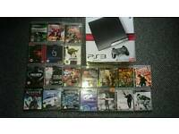 PS 3 SLIM 250G, 2 CONTROLLERS WITH 20 GAMES
