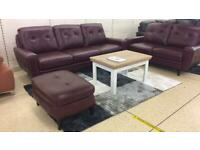 Premier burgundy leather 3 plus 2 seater sofa set with footstools