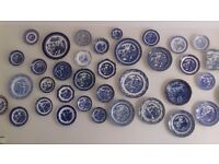 Collection of Vintage Blue Willow Plates