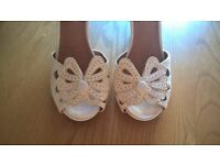 Office white butterfly open toe shoes size 6