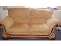 Large 3 piece and 2 piece sofa, golden yellow fabric and embroidered detailing. Good condition, cosy