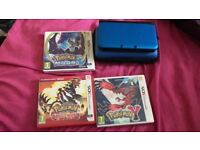 Nintendo 3DS XL Blue with 3 Pokemon Games and Travel Case