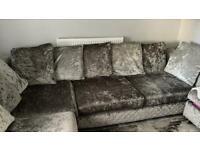 Velvet crushed l shape sofa