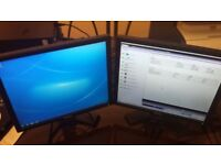 Two 17 inch lcd computer monitors with cables
