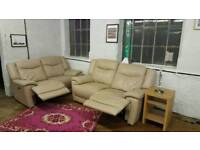 Relax Station X2 2 Seater Electric Reclining Leather Sofa Set Suite Cream Beige Pebble Grey Bisque