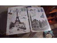 London/Paris pair of wall art plaques