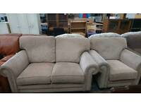 light beige 2 Seater Sofa With armchair