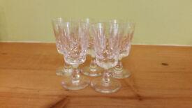 Set of 5 matching cut glass port/sherry glasses
