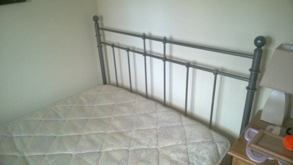 Metal Double Bed Frame with Silent Night Mattress