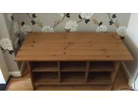 Country style wooden coffee table with shelves