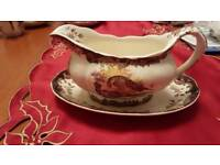 Royal Worcester Pallissy gravy boat and drip tray