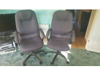 2 High-back Charcoal Fully-adjustable Office Chairs
