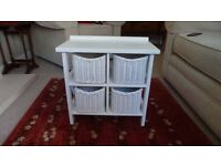 Small storage unit (white) with four wicker baskets. Unused, bought from M&S.