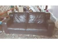 Black leather sofa large