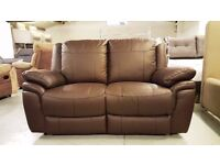 NEW SCS LEO Brown Leather 2 Seater Manual Recliner Sofa View/Collect Kirkby NG17 Can Deliver