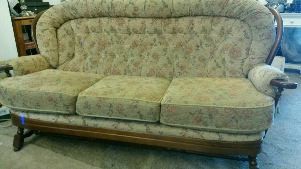 Lovely Matching 3 Seater Sofa and Chairin Binley, West MidlandsGumtree - Great set of sofa and armchair, padded seating with a dark wood frame. Really comfortable and good condition. There is also a second sofa which has a few marks on it but I am happy to throw that in with the price if wanted. Collection from Binley...