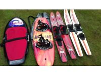 Wakeboard, water skis and free items including kneeboard, training skis, ski rope, toy