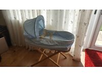 Baby blue broderie anglaise Moses Basket, with stand and mattress