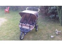 out n about double pushchair pram buggy with raincover