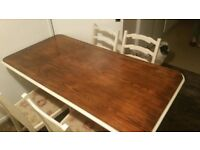 large solid dark oak table and 4 chairs...upcycling project