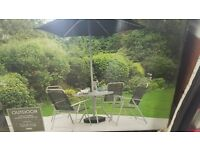 OUTDOOR TABLE AND CHAIR WITH UMBRELLA - BRAND NEW BOXED COMPLETE 4 CHAIRS