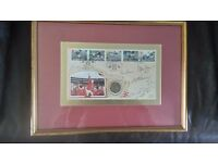 Signed 1966 world cup photo signed and stapped with limited addition coin
