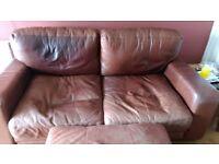 Leather sofa &. Footstool