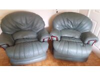 Green leather rocker recliner chairs and matching 3 seater sofa