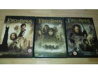3 lord of the rings DVDs
