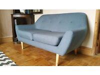 Blue retro 2 seater sofa, 1960s Danish style
